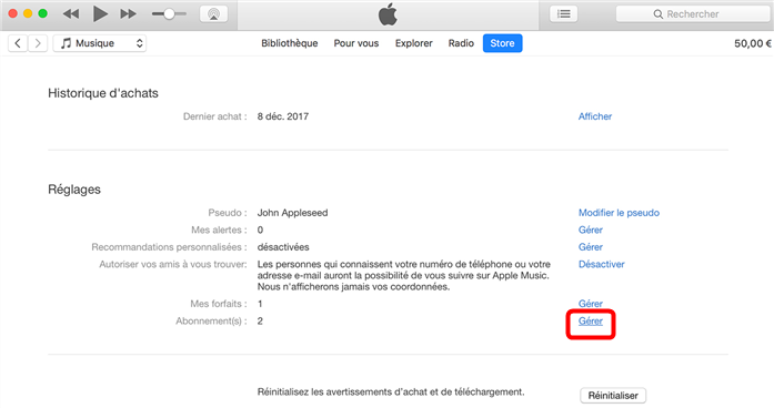 Modifier lesabonnements iTunes