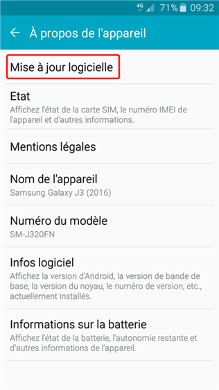 Mettre à jour Android 8.0 Oreo avec Samsung