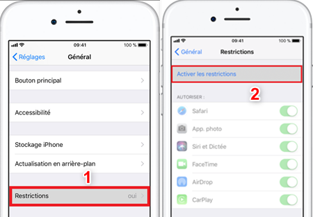 comment desactiver controle parental iphone