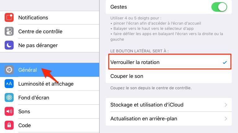Solution sur écran iPad ne pivote plus