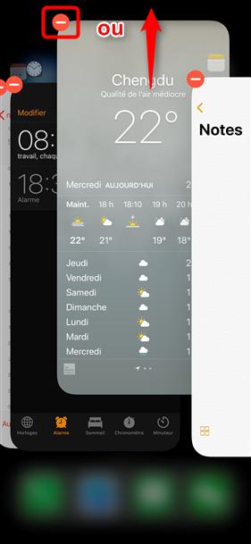 Forcer la fermeture d'App sur iPhone X – étape 2