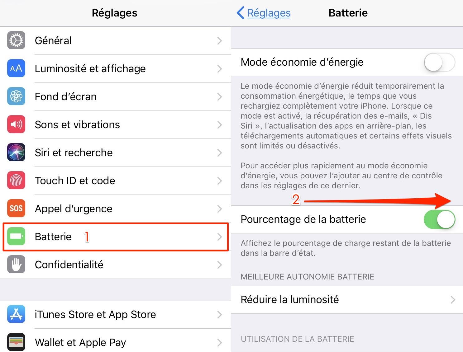 Afficher le pourcentage de batterie sur iPhone