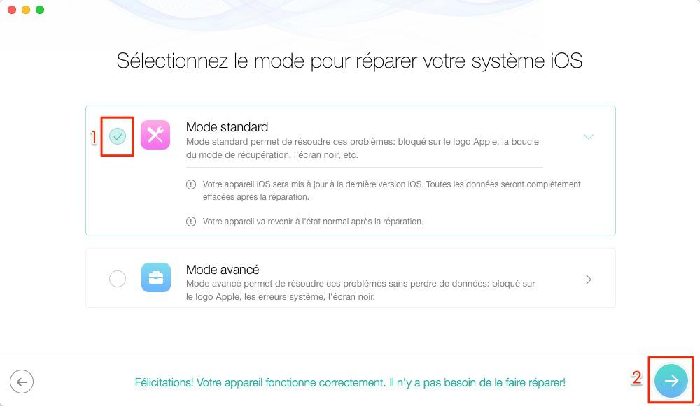 Réparer l'iPhone X qui redémarre sans cesse avec PhoneRescue - étape 2