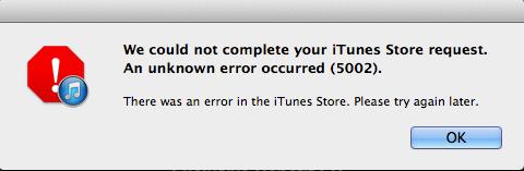 Erreur 5002 iTunes