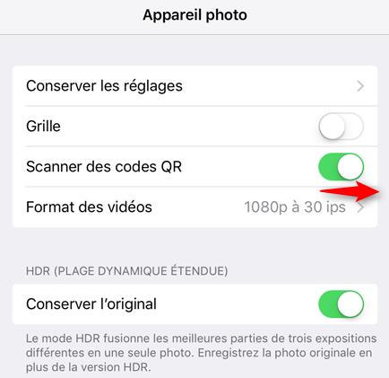 Activer/désactiver le balayage de code QR dans iOS 11 sur iPhone