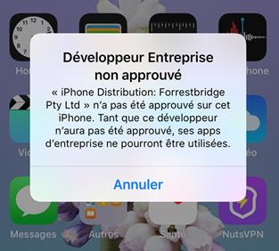 Impossible d'ouvrir une app personnalisé