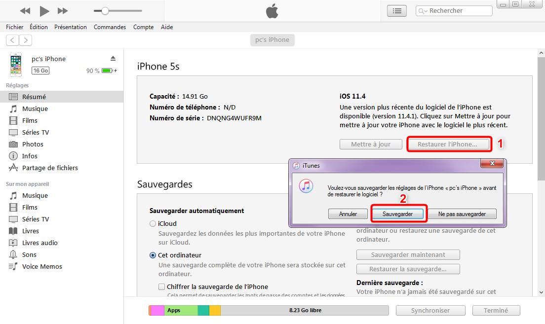 Enlever iPhone du mode récupération via iTunes-étape 2