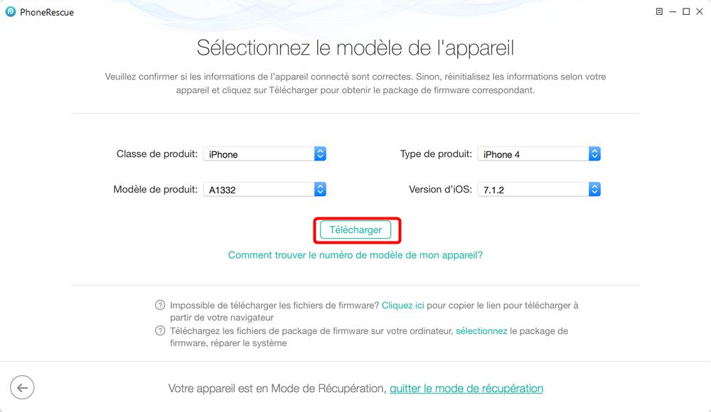 Quitter le mode récupération avec PhoneRescue -étape 4