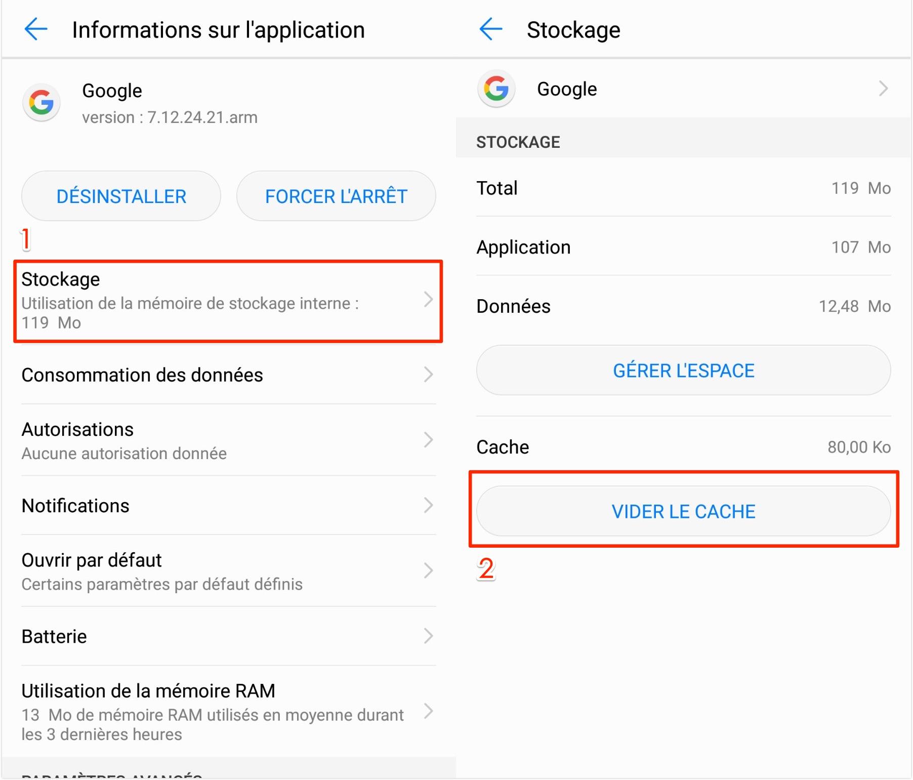 Effacer les caches de Google sur téléphone Android - étape 3