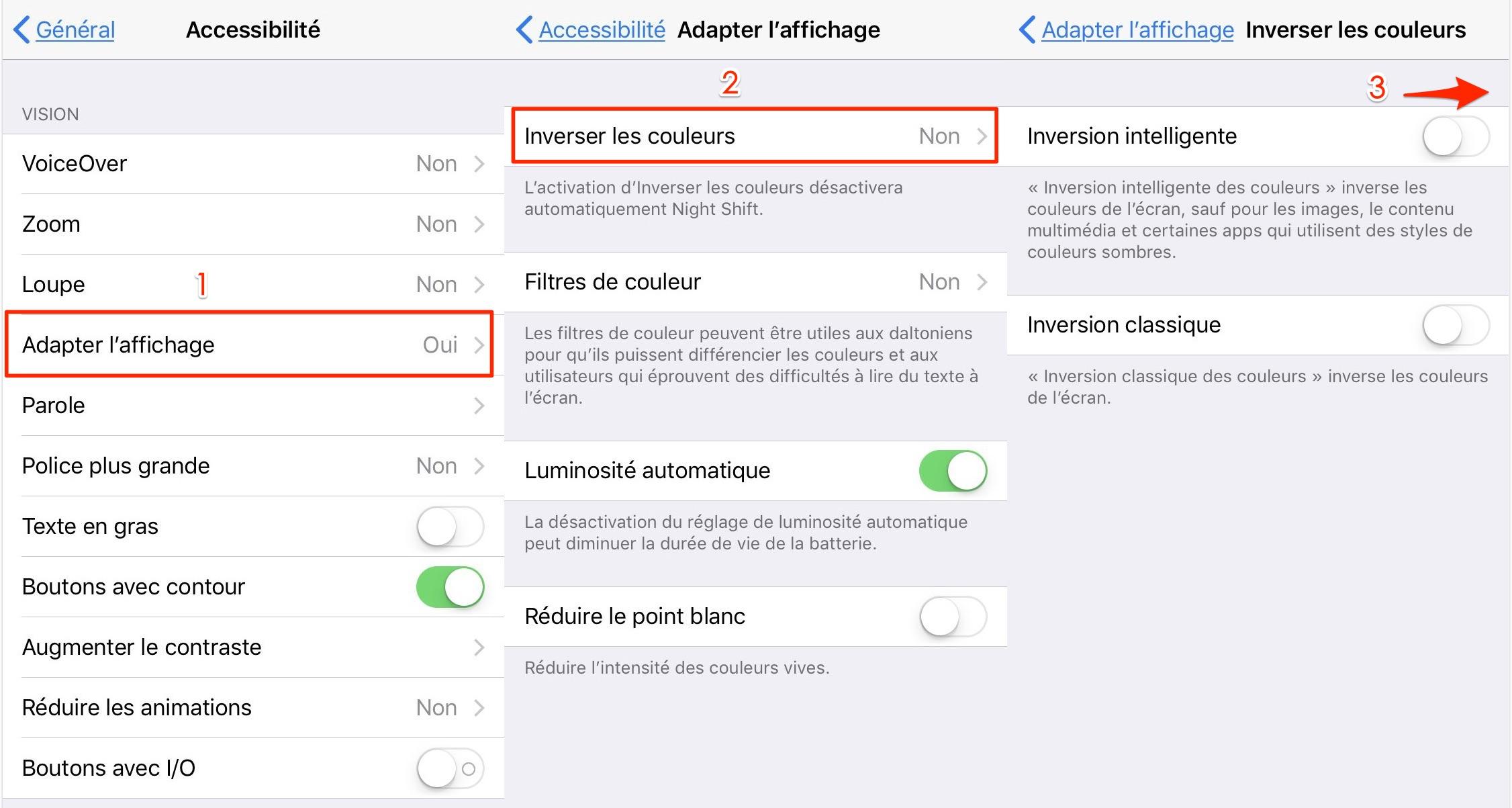 Mettre iPhone sous le mode sombre avec iOS 11 - étape 2