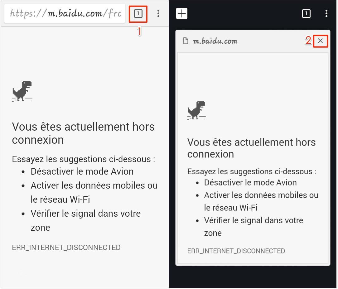 Fermez l'onglet de navigateur Android