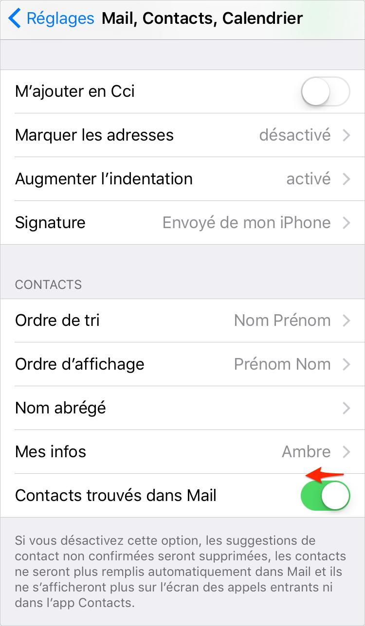 Désactiver Contacts trouvés dans Mail sur iPhone