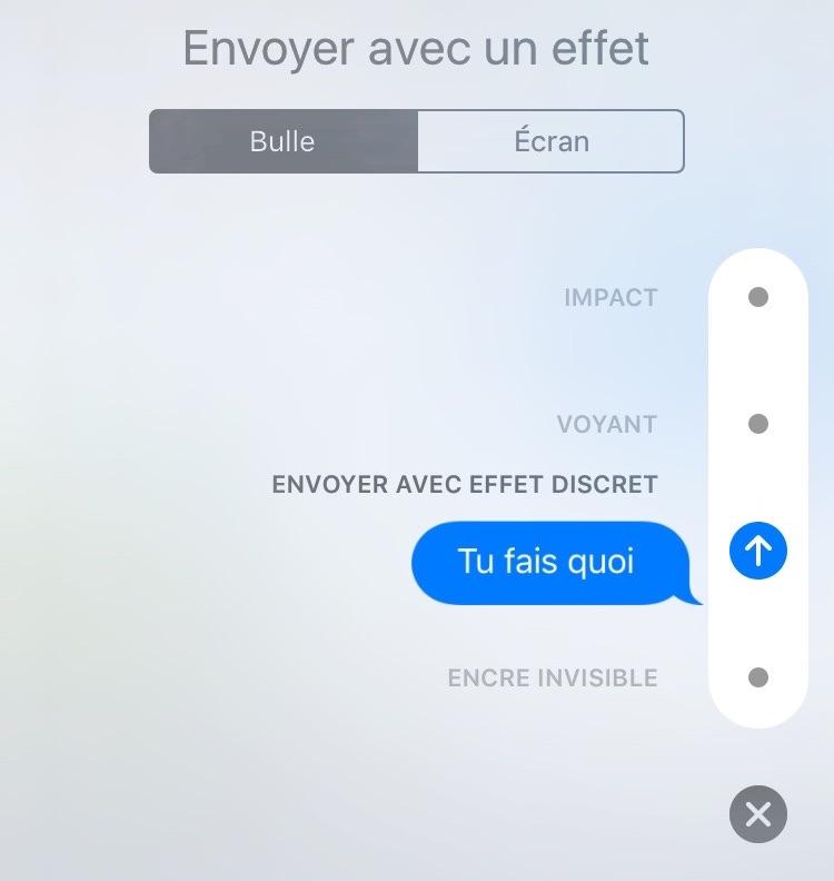 Envoyer des Messages avec effet Discret sous iOS 10
