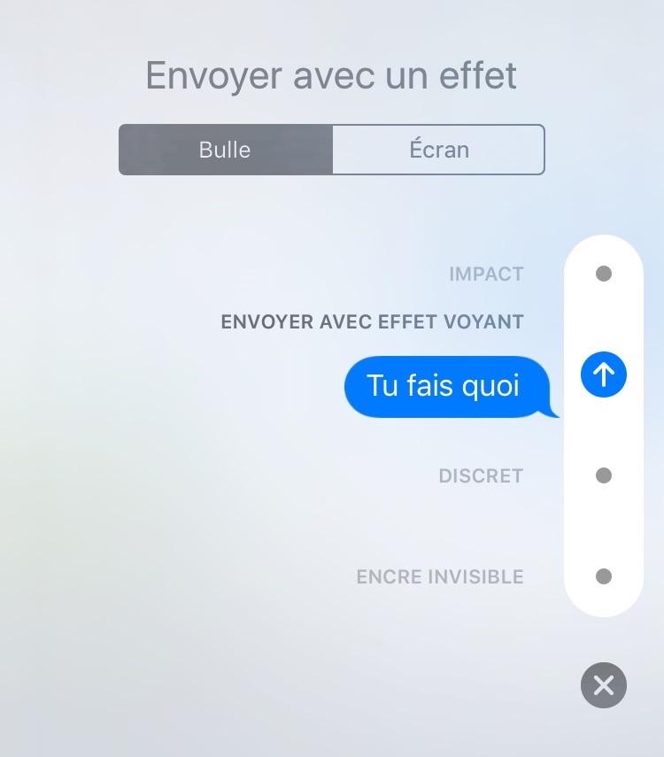 Comment envoyer des iMessages avec effet Voyant