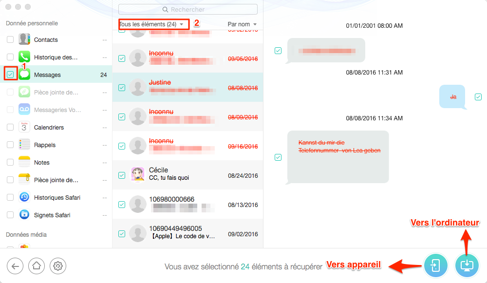 Retrouver iMessages/SMS supprimés ou perdus avec PhoneRescue