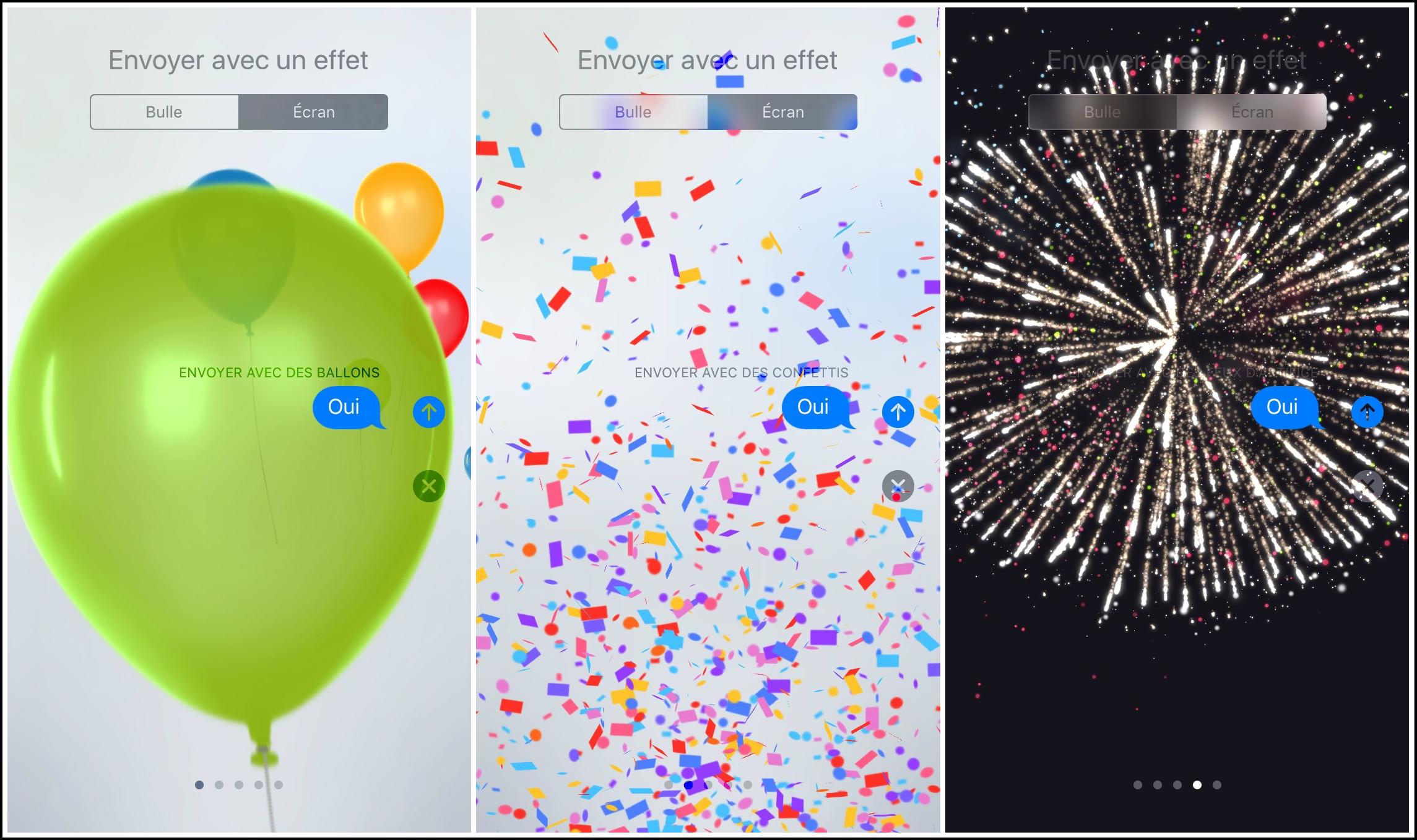 Comment envoyer des iMessages avec les effets plein écran