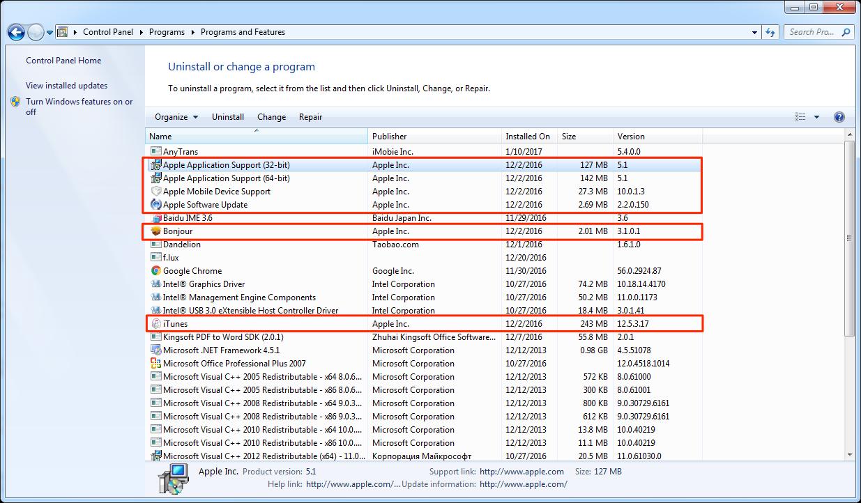 Désinstallez iTunes sur votre Windows PC