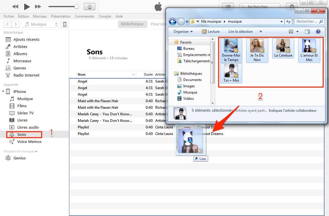 Déplacer les sonneries sur iPhone via iTunes 12.7