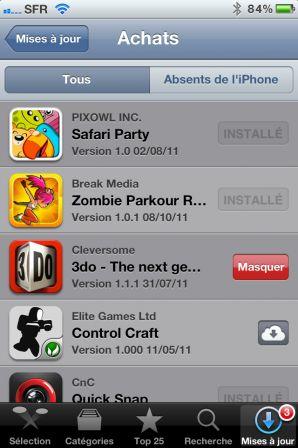 Masquer les applis achetées sur l'App Store depuis l'iPhone – étape 3