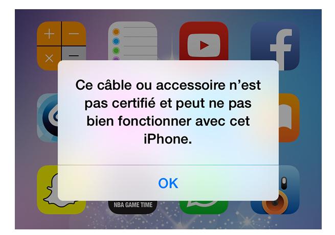 message d'erreur « Ce câble ou accessoire n'est pas certifié »
