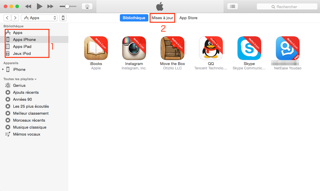 Comment mettre à jour des applications sur iTunes