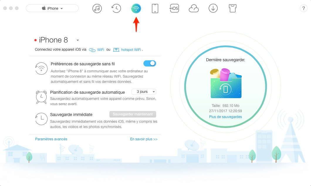 Comment sauvegarder iPhone via Wi-Fi automatiquement