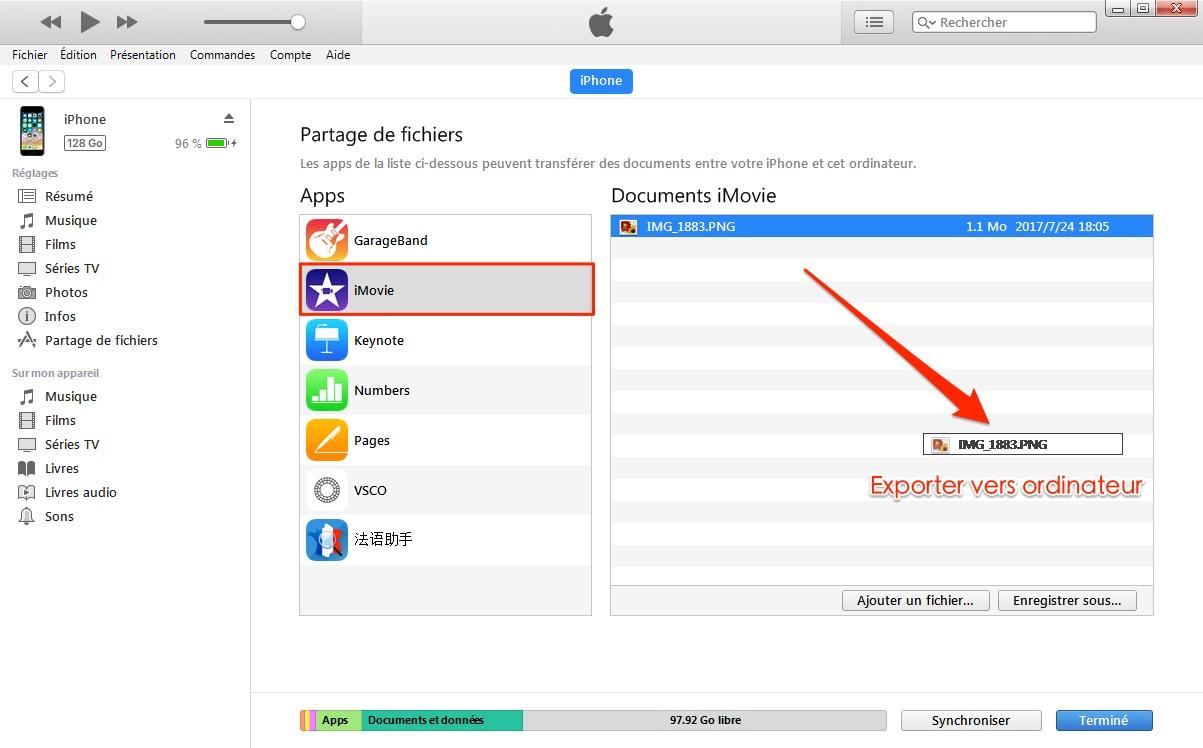 Copier des fichiers iTunes vers ordinateur