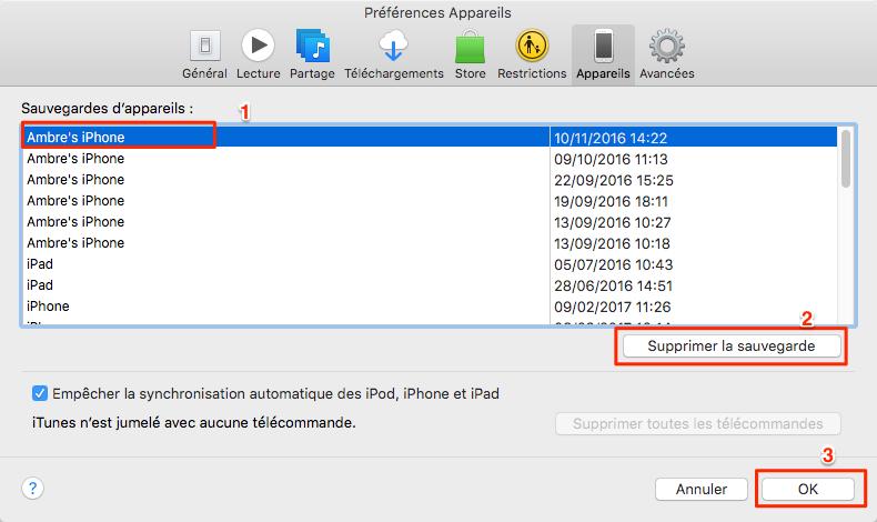 Comment supprimer des sauvegardes iTunes