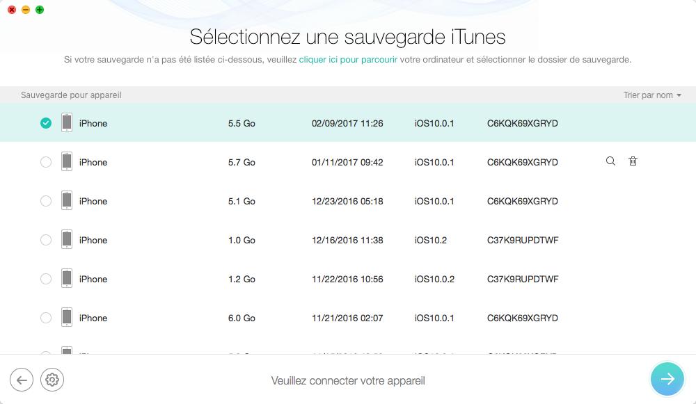 Restaurer les données iPhone depuis iTunes – étape 1