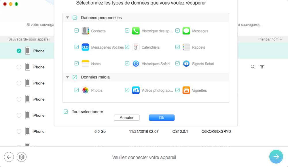 Récupérer directement les données depuis le sauvegarde iTunes – étape 2