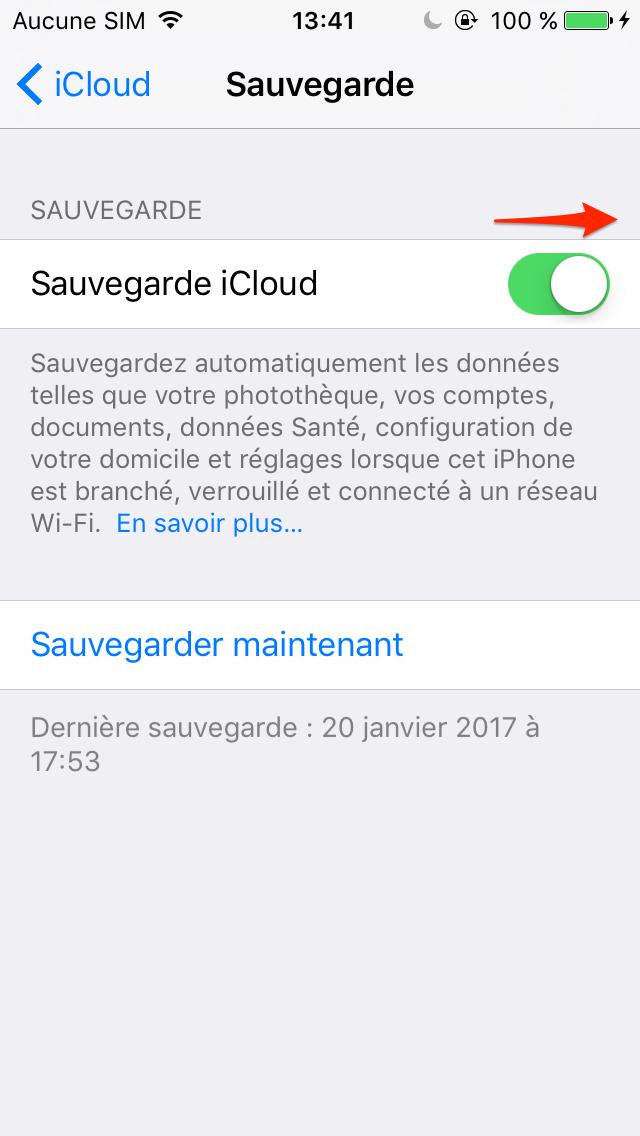 Sauvegarder iPad avec iCloud – étape 2