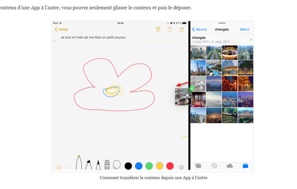 Comment transférer le contenu depuis une App à l'autre