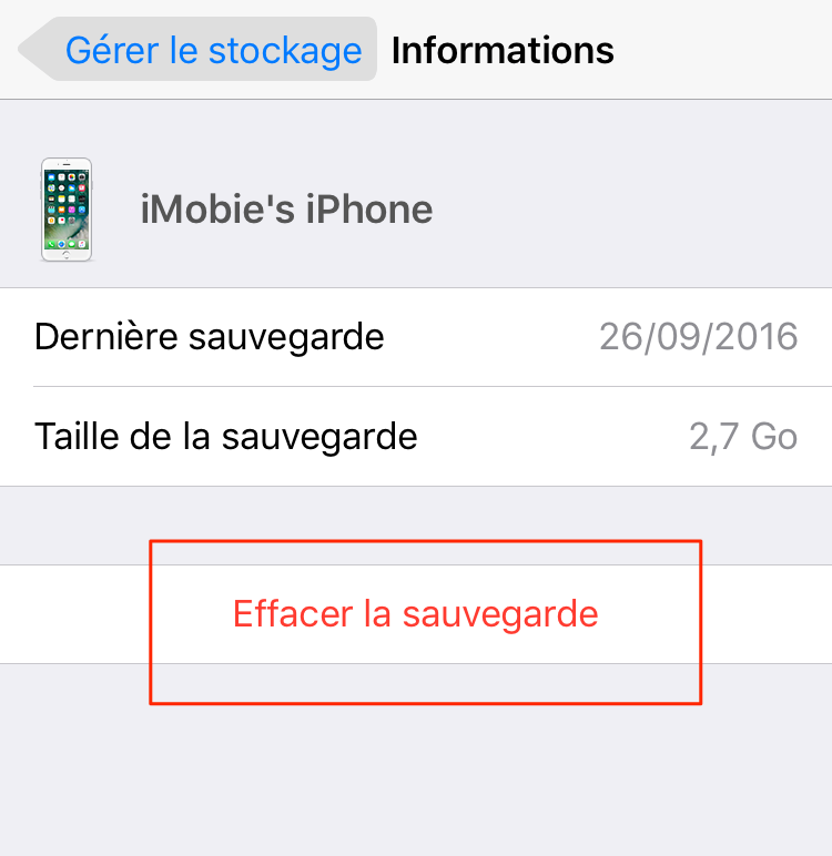 Effacer données iCloud