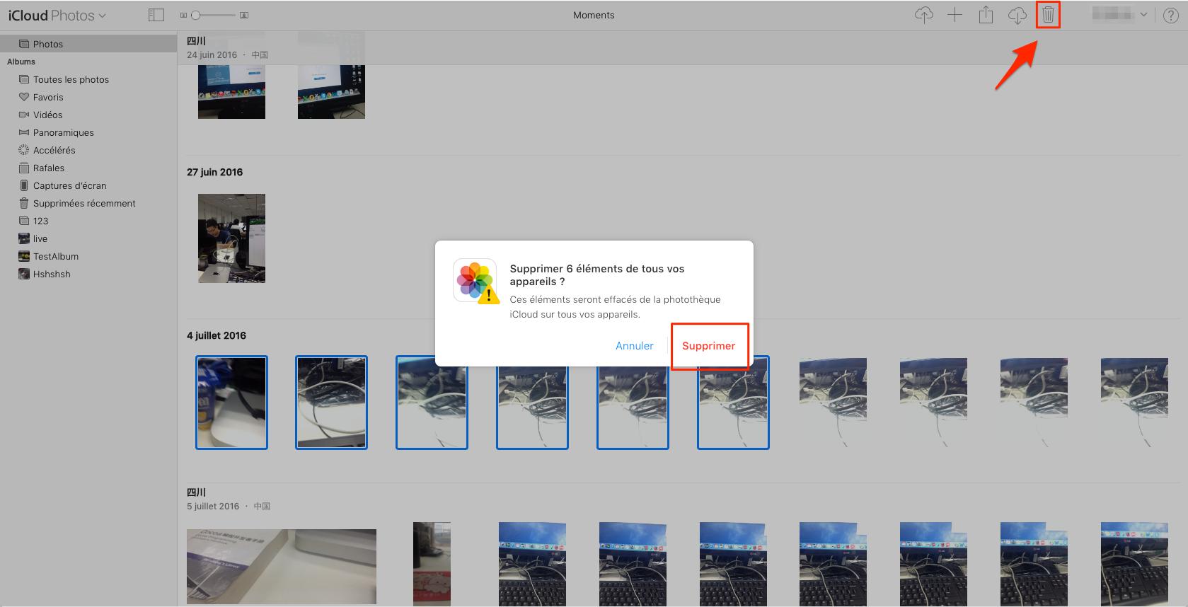 Effacer photos iCloud avec facilité