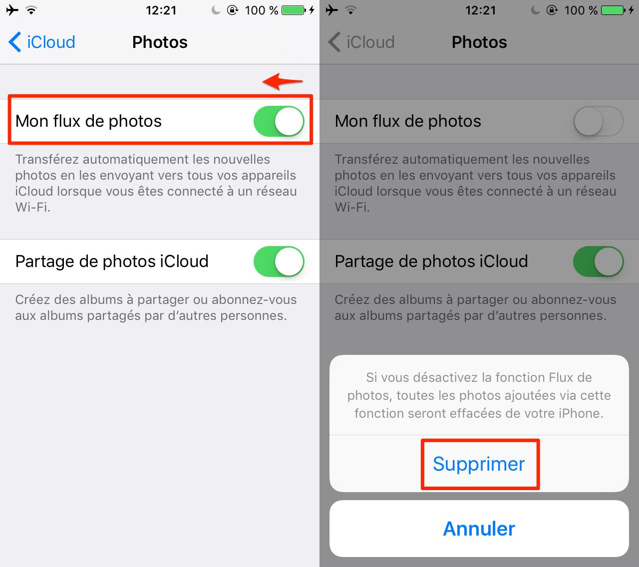 Désactiver Mon flux de photos iCloud sur iPhone