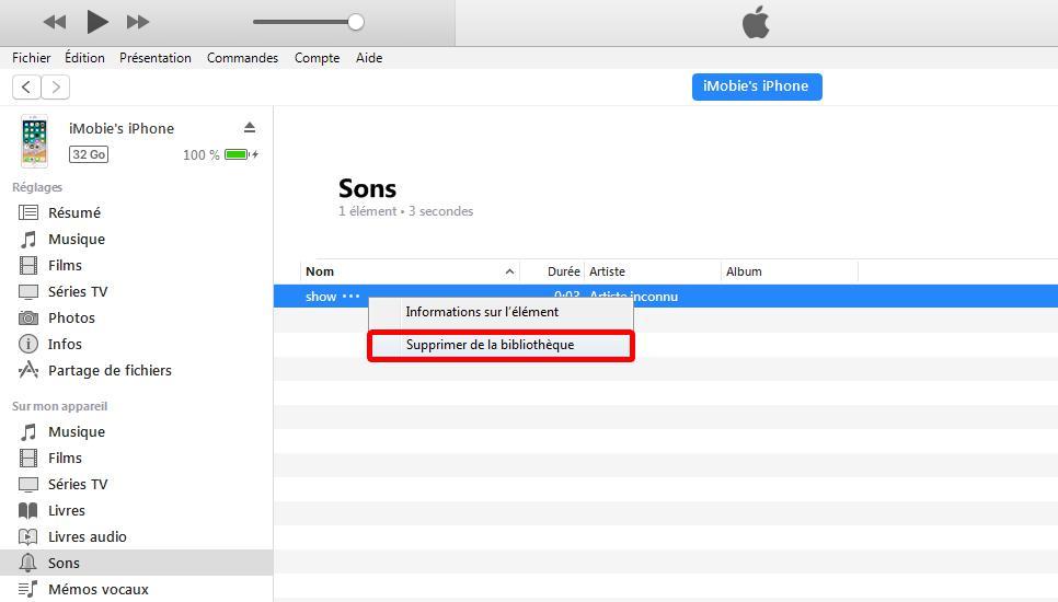 Comment supprimer les sonneries directement sur iTunes 12.7