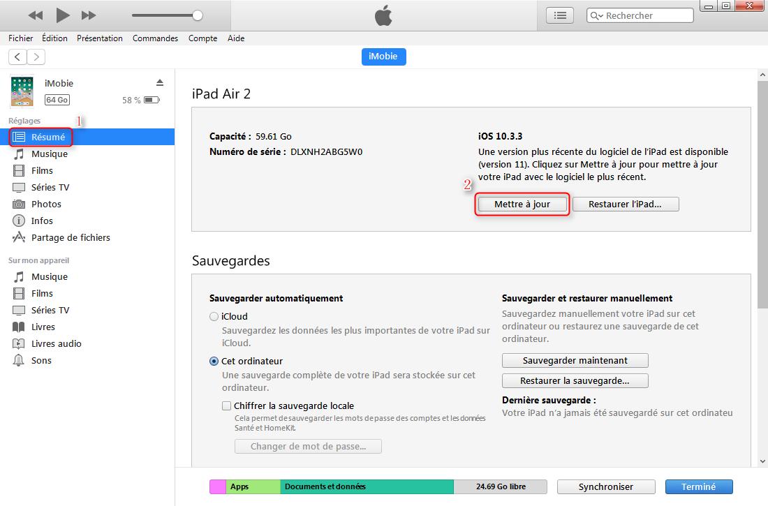 Mettre à jour iPhone/iPad/iPod touch vers iOS 11 sur via iTunes