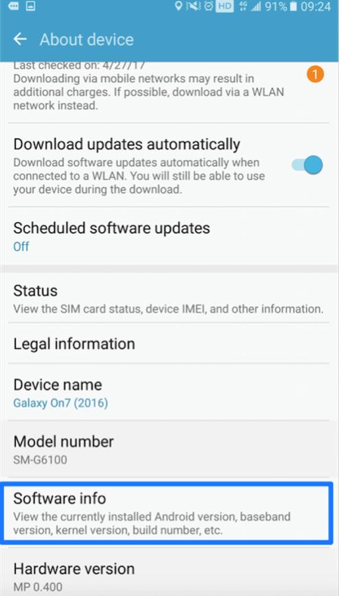 Appuyez sur l'option « Infos sur le logiciel »