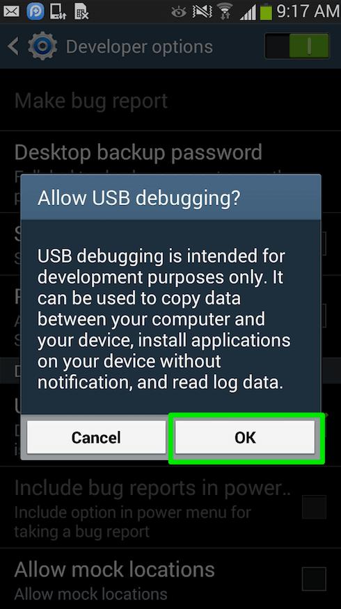 Appuyez sur «OK» pour autoriser le débogage USB