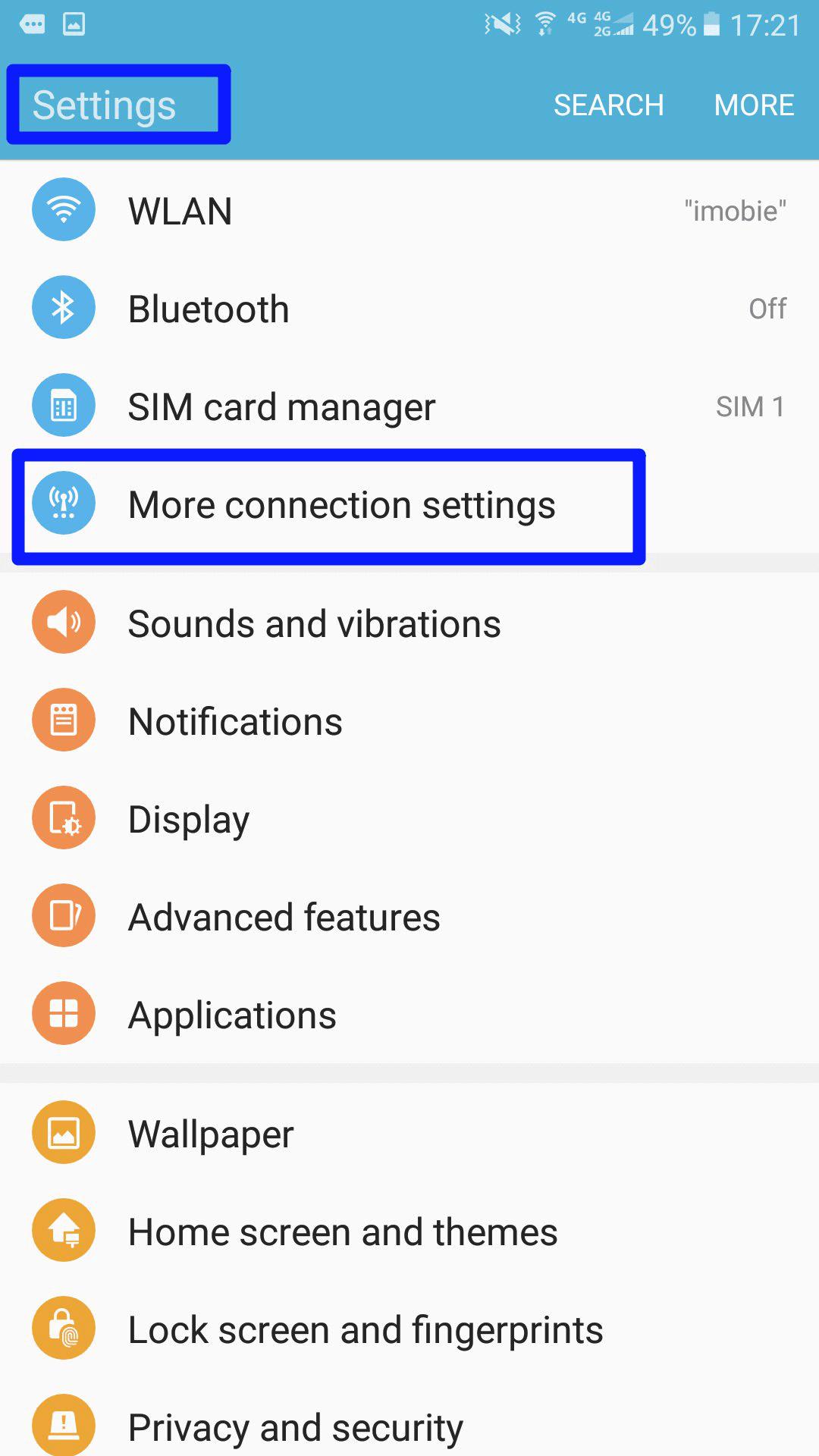 Appuyez sur Plus de paramètres de connexion