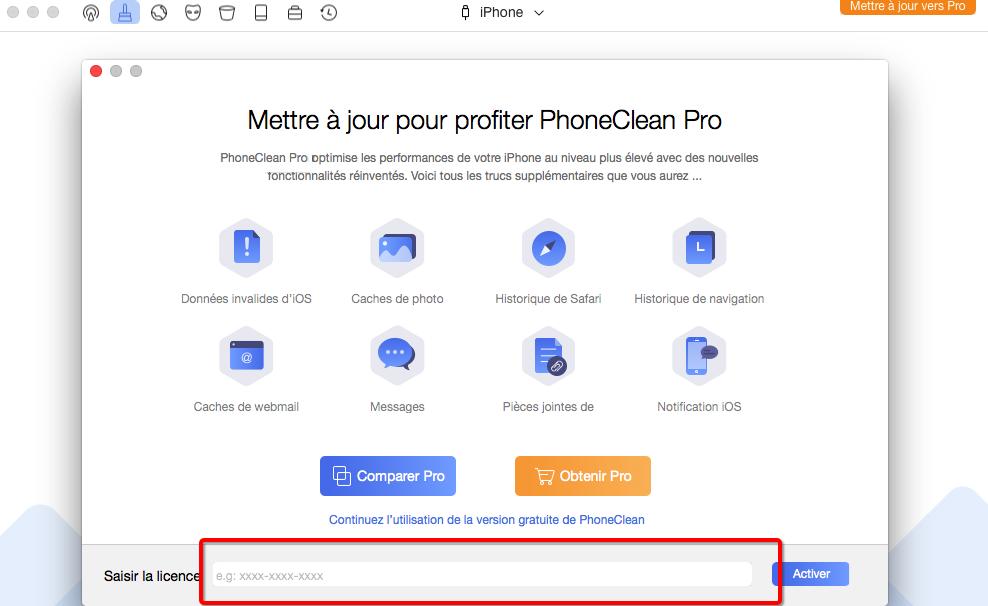 Activer PhoneClean