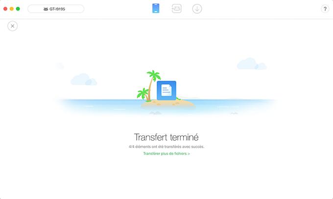 La page complétée du transfert de données
