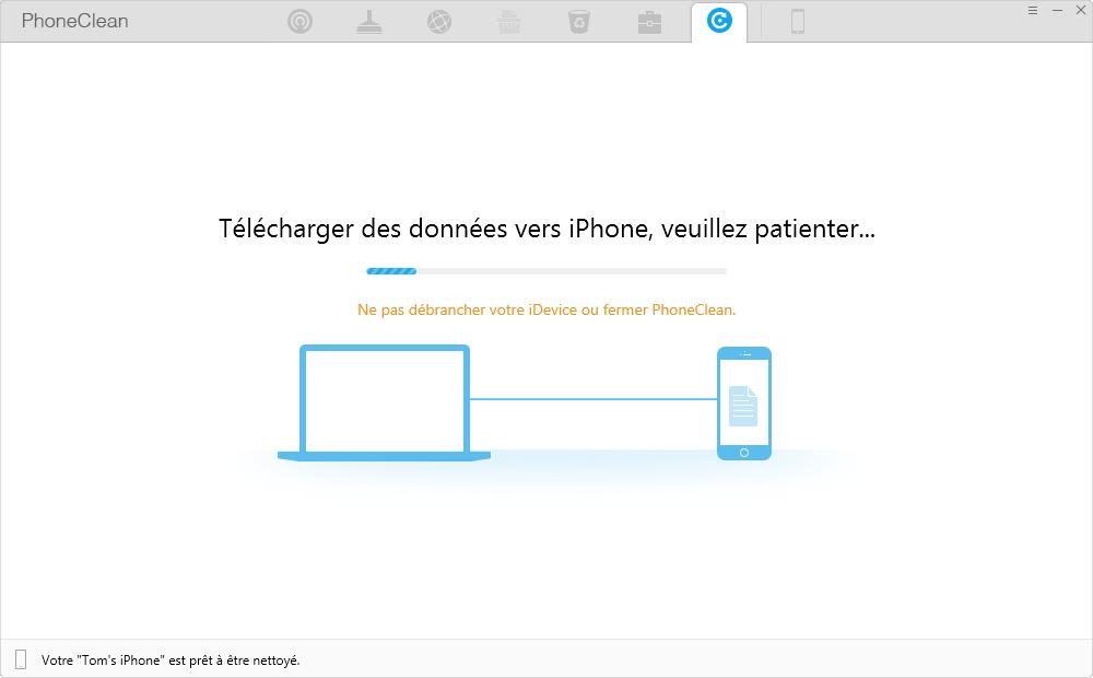 Télécharger des données vers l'appareil