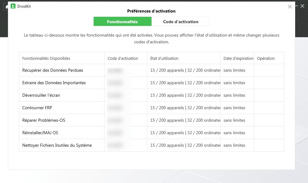 Activer DroidKit avec succès