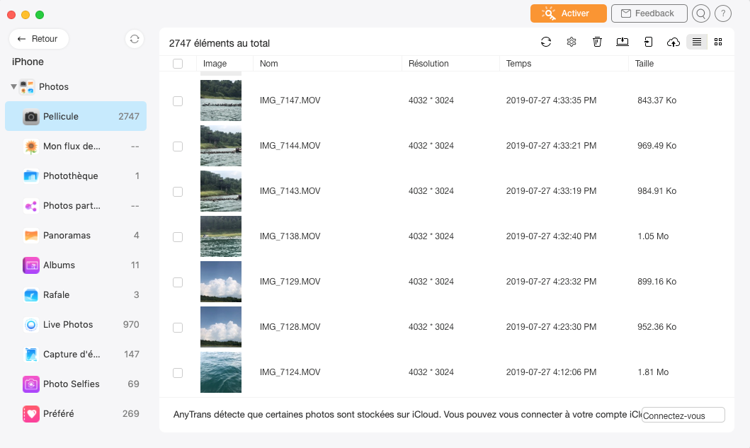 Page de gestion des fichiers