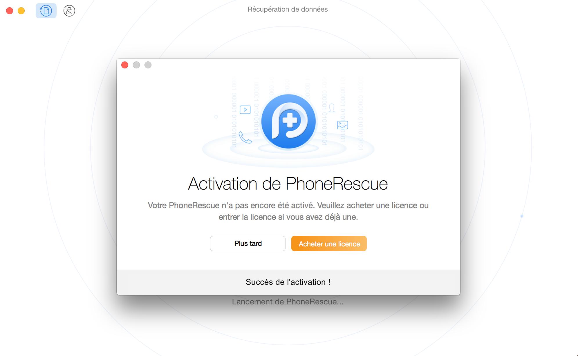 Enregistrement de PhoneRescue pour Google avec succès