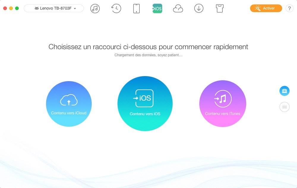 L'interface principale de Passer à iOS