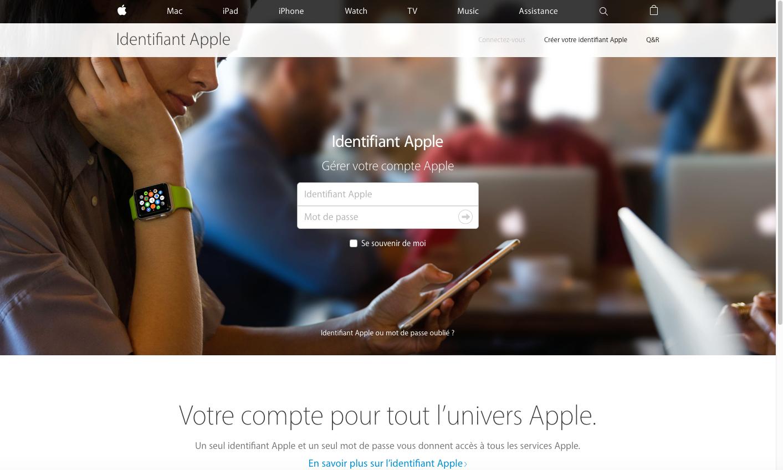 Saisissez votre identifiant Apple