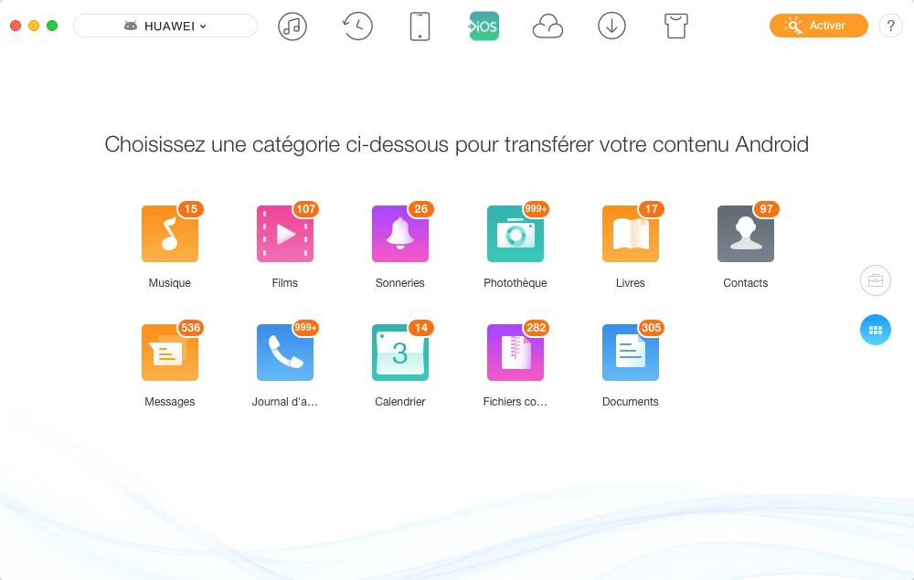 Sélection des contacts Android