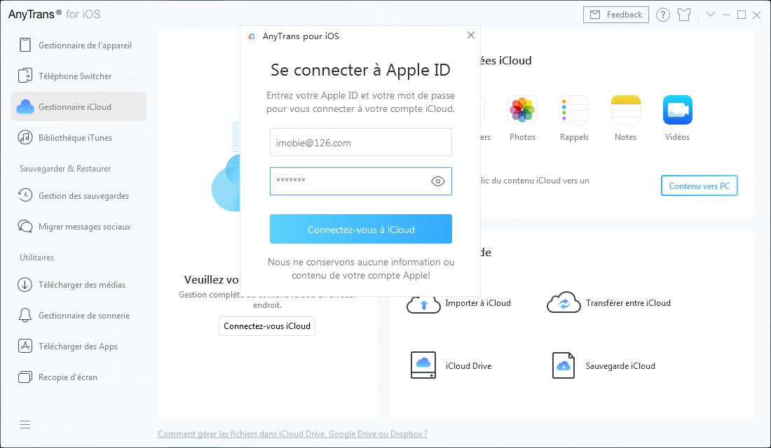 Connecter à iCloud